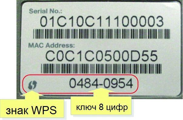 PIN-код WPS, написанный на корпусе роутера