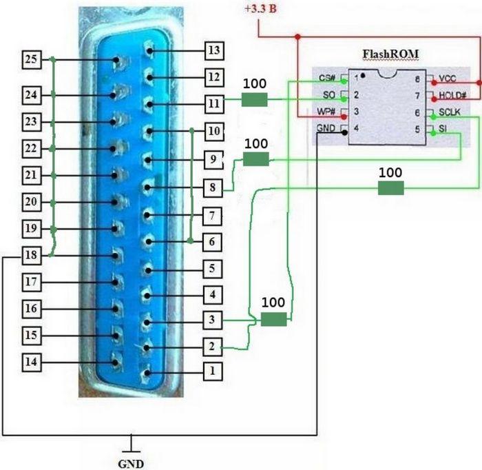 схема соединения MX25L6445E-M2I-10G с компьютером
