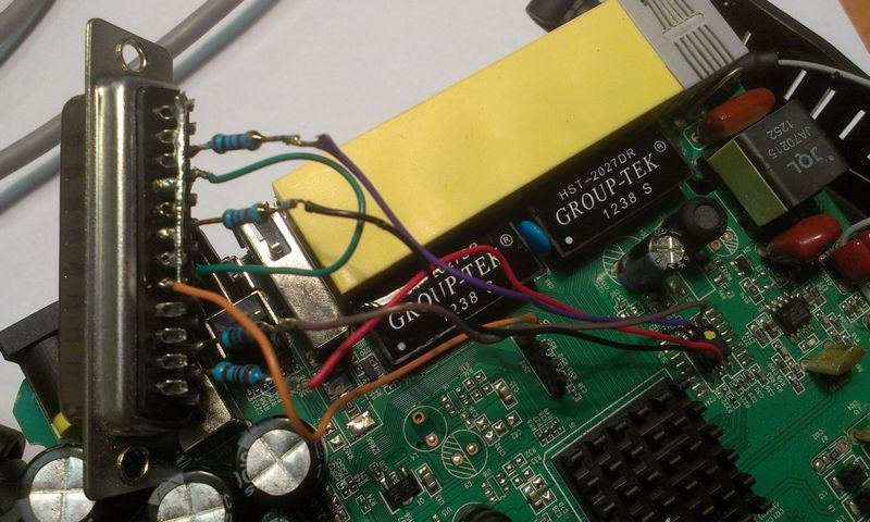 припаеваем провода к LPT коннектору